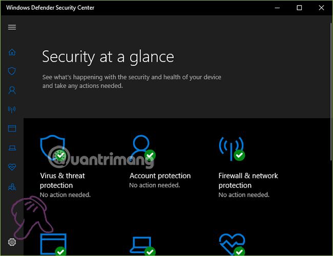 Vào cài đặt của Windows Defender Security Center