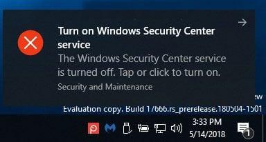 Việc vô hiệu hóa service Windows Security Center sẽ không tắt Windows Defender AV hoặc Windows Defender Firewall