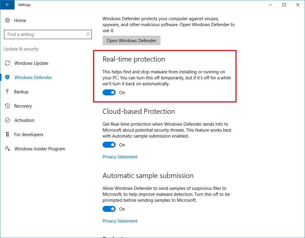 Vô hiệu hóa tạm thời Windows Defender bằng ứng dụng Settings